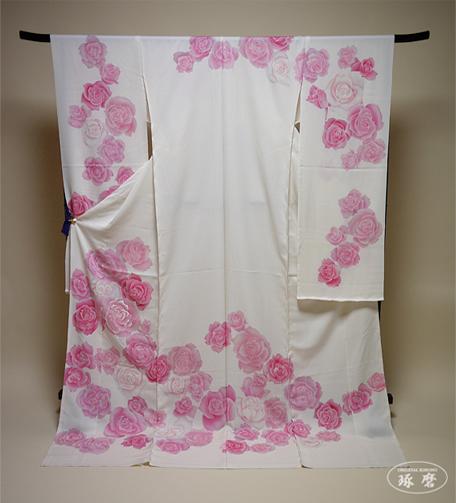 薔薇(手描きローケツ染)-引き振袖